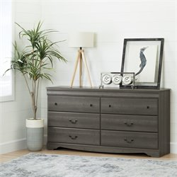 South Shore Vintage 6 Drawer Dresser in Gray Maple