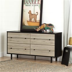 South Shore Morice 4 Drawer Dresser in Ebony and Rustic Oak