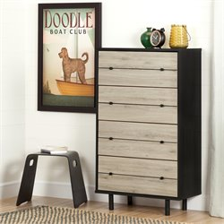 South Shore Morice 4 Drawer Chest in Ebony and Rustic Oak