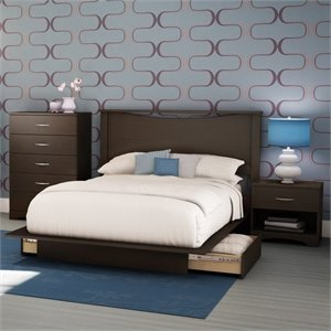 South Shore Back Bay Modern 4 Piece Queen Platform Storage Bedroom Set