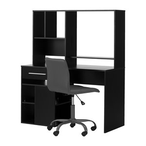 South Shore Annexe Writing Desk and Office Chair in Pure Black