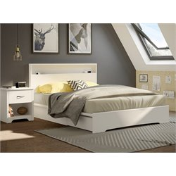 South Shore Basic 2 Piece Queen Mates Platform Bedroom Set in White