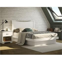 South Shore Basic 2 Piece Full Platform Bedroom Set in Pure White