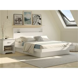 South Shore Basic 2 Piece Queen Platform Bedroom Set in Pure White