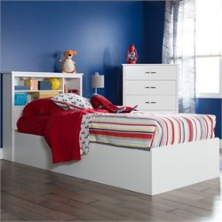 South Shore Fusion 2 Piece Twin Storage Bedroom Set in White