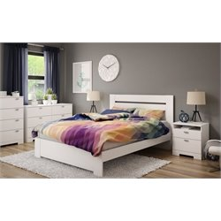 South Shore Reevo 4 Piece Queen Platform Bedroom Set in Pure White
