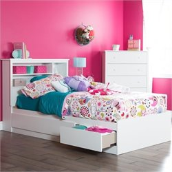 South Shore Vito 2 Piece Twin Storage Bedroom Set in Pure White