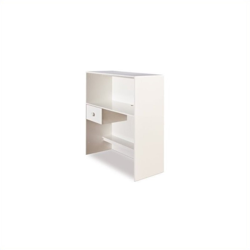 South Shore Logik Wood Loft Desk with Hutch in Pure White