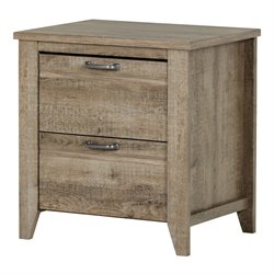 South Shore Lionel 2 Drawer Nightstand in Weathered Oak