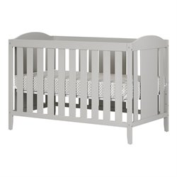 South Shore Angel Crib and Toddlers Bed with Mattress in Soft Gray