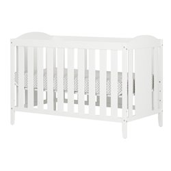 South Shore Angel Crib and Toddlers Bed with Mattress in Pure White