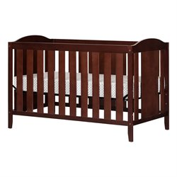 South Shore Angel Crib and Toddlers Bed with Mattress in Royal Cherry