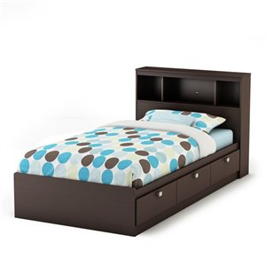 South Shore Spark Storage Bed with Bookcase Headboard-SH