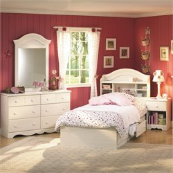 South Shore Summer Breeze 4 Piece Bedroom Set in White Wash