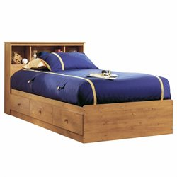 South Shore Little Treasures Twin Bookcase Storage Bed in Country Pine