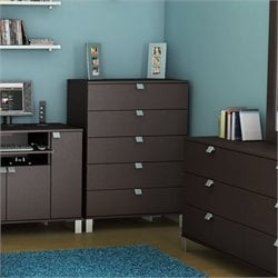 South Shore Cakao Kids 5 Drawer Wood Chest in Chocolate Finish