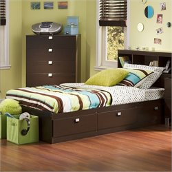 South Shore Cakao Kids Twin Storage Mates Bed Frame Only in Chocolate Finish
