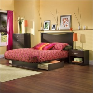 South Shore Back Bay Chocolate Queen Wood 2 Piece Platform Bedroom Set
