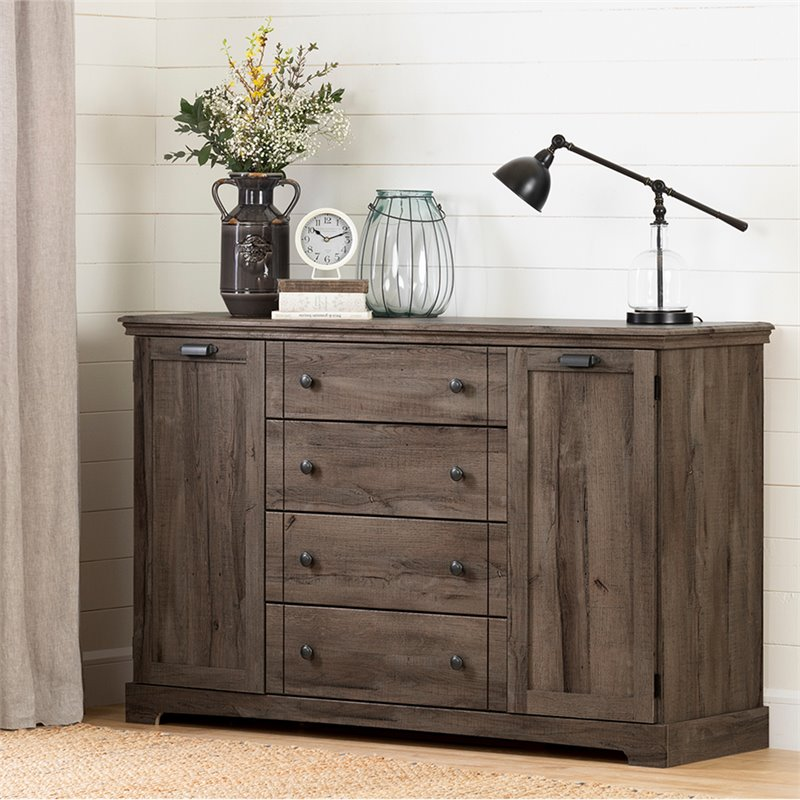 South Shore Avilla 4 Drawer 2 Door Dresser In Fall Oak