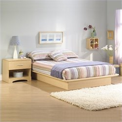 South Shore Copley Light Maple Wood Platform Bed 3 Piece Bedroom Set