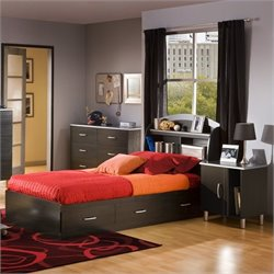 South Shore Cosmos Kids Twin Wood Bookcase Bed 3 Pc Bedroom Set in Black Onyx/Charcoal