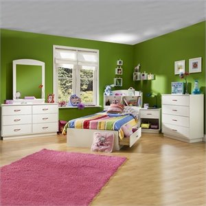 South Shore Logik Kids Pure White Twin Wood Mates Storage Bedroom Set