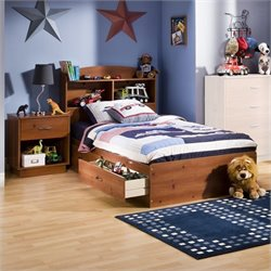 South Shore Logik Kids Sunny Pine Twin Wood Mates Storage Bed 3 Piece Bedroom Set