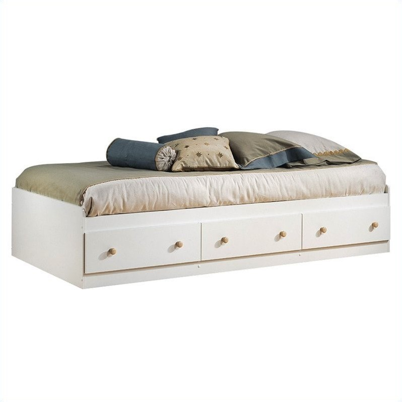 South Shore Newbury Kids White Twin Wood Captain's Bed 4 Piece Bedroom Set