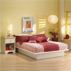 South Shore Newbury White Wood Platform Bed 4 Piece Bedroom Set