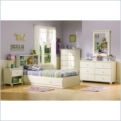 South Shore Sand Castle Pure White Kids Twin Wood Mates Storage Bed 4 Piece Bedroom Set