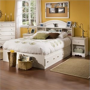 South Shore Summer Breeze Kids Full Wood Bookcase Bedroom Set in White Wash