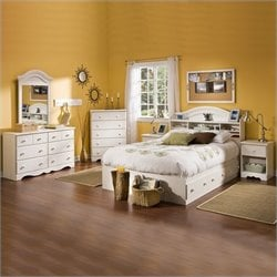 South Shore Summer Breeze Kids Full Wood Bookcase Bed 4 Piece Bedroom Set in White Wash