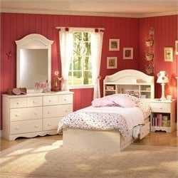 South Shore Summer Breeze Kids Twin Wood Bookcase Bed 4 Piece Bedroom Set in White Wash