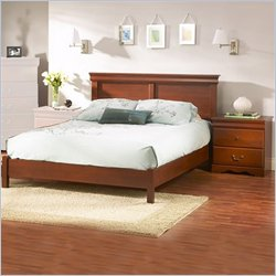 South Shore Vintage Classic Cherry Queen Wood Platform Bed 3 Piece Bedroom Set