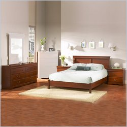 South Shore Vintage Cherry Queen Wood Platform Bed 4 Piece Bedroom Set