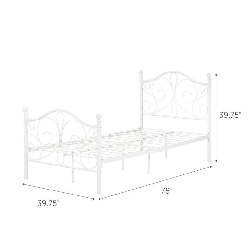 Summer Breeze Complete Metal Platform Bed -Twin-White-South Shore