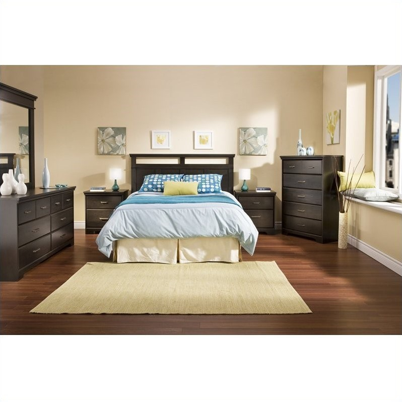 South Shore Versa Full/Queen Wood Panel Headboard 3 Piece Bedroom Set in Black Ebony
