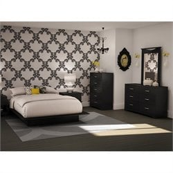 South Shore Maddox Queen Black Wood Platform Bed 5 Piece Bedroom Set