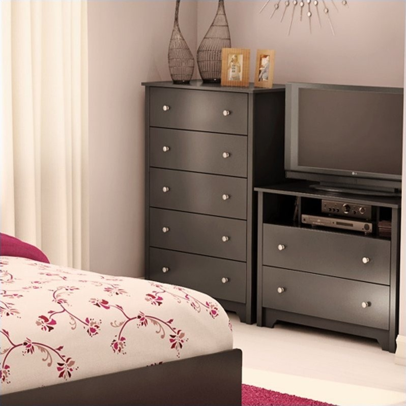 South Shore Breakwater 5 Drawer Chest in Pure Black Finish