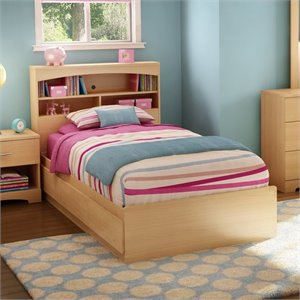 South Shore Shiloh Twin Mates Bed in Natural Maple