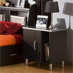 South Shore Cosmos Nightstand in Black Onyx/Charcoal