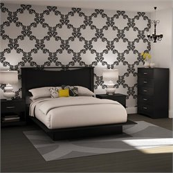 South Shore Maddox Queen Platform Bed Set in Pure Black Finish
