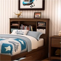 South Shore Nathan Kids Twin Bookcase Headboard in Cherry