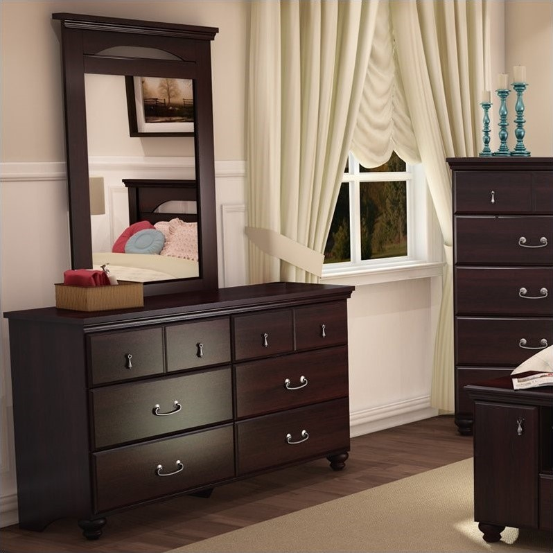 South Shore Dover Traditional 6 Drawer Double Dresser in Dark Mahogany Finish