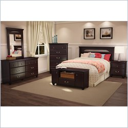 South Shore Dover Full/Queen Panel Headboard 3 Piece Bedroom Set in Dark Mahogany Finish