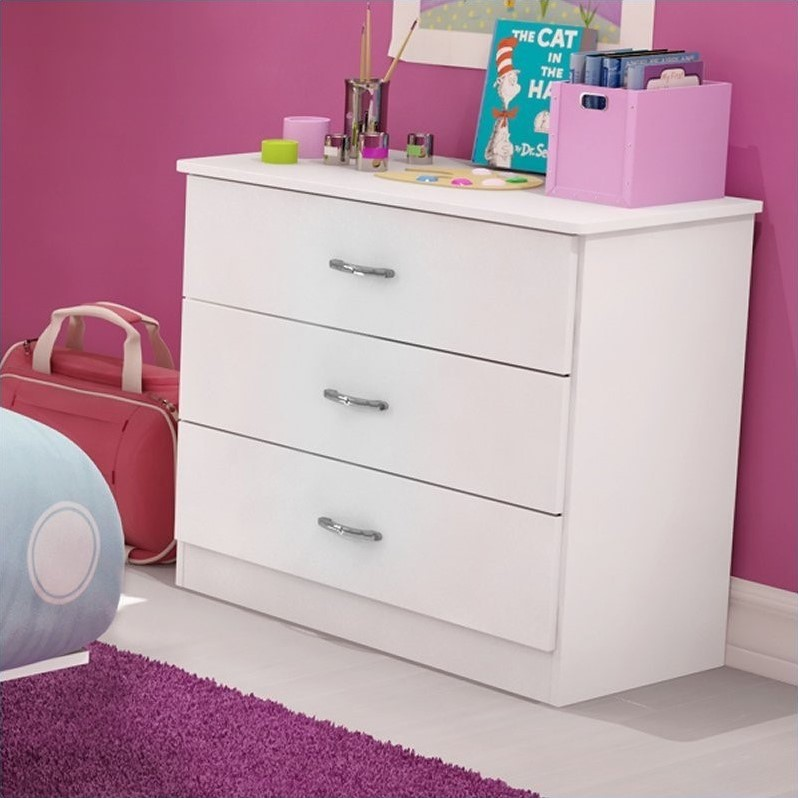 Libra Kids 3 Drawer Chest in Pure White Finish