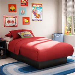 South Shore Libra Kids Twin Platform Bed in Pure Black Finish