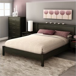 South Shore Gravity Queen Platform Bed in Ebony