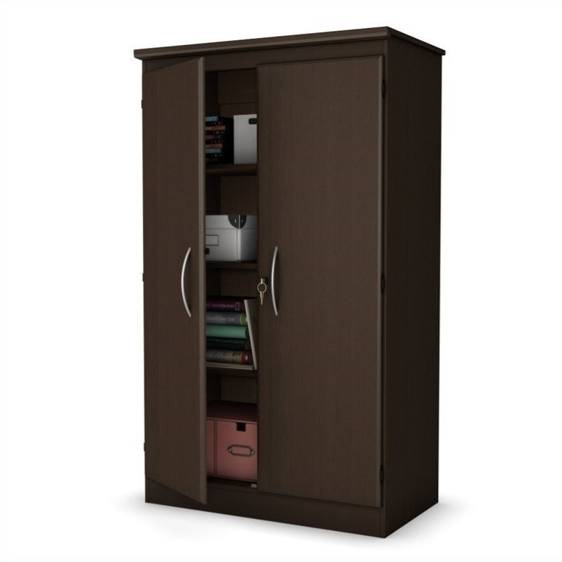 South Shore Park 2 Door Storage Cabinet in Chocolate Finish