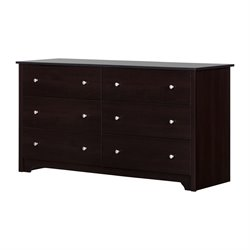 South Shore Breakwater 6 Drawer Double Dresser in Chocolate Finish